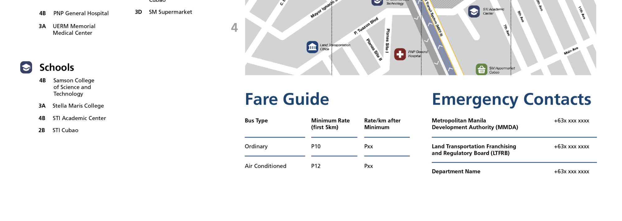 zoomed in bottom section of area map showing fare guide and relevant phone numbers