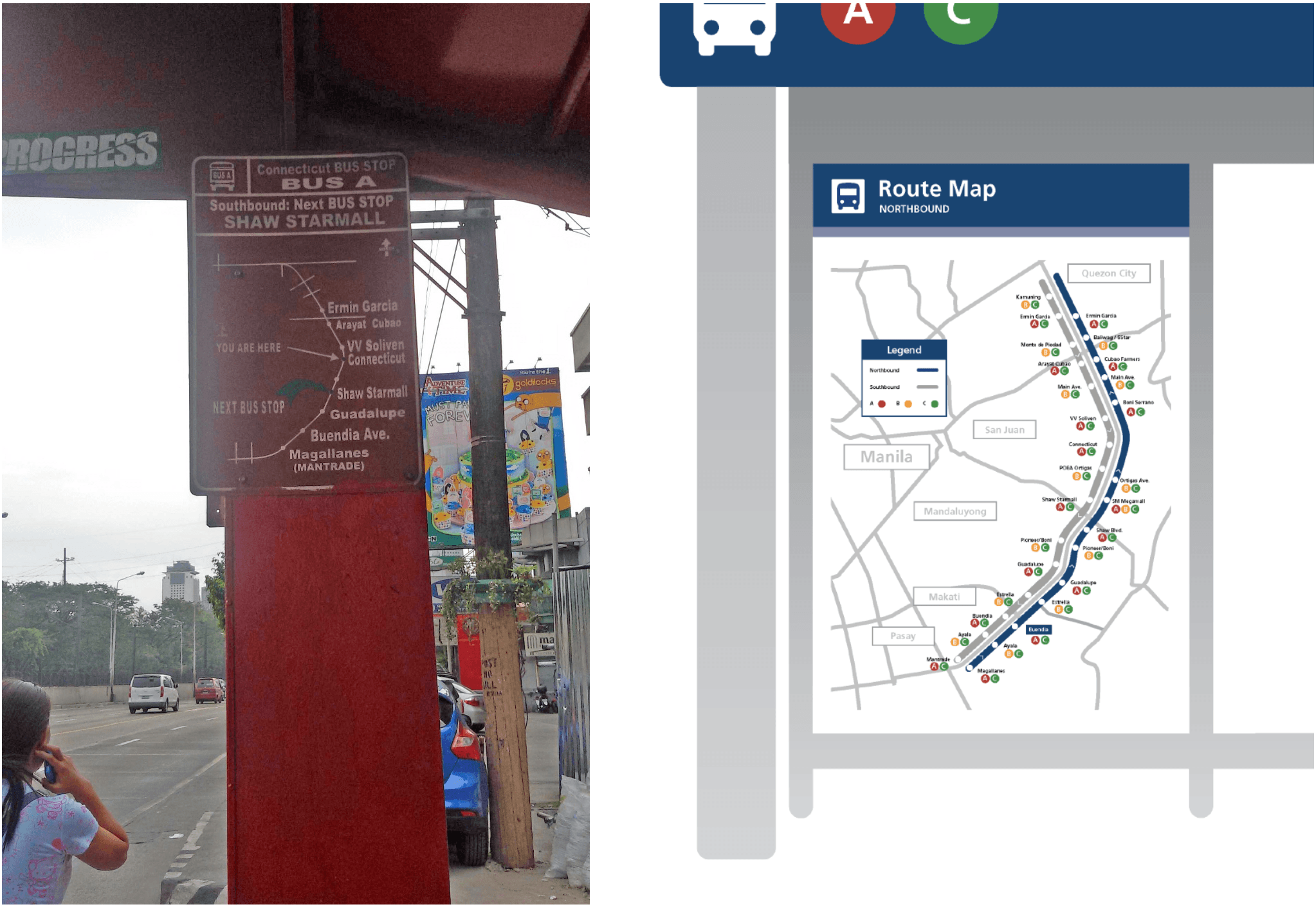 Before/after of route map